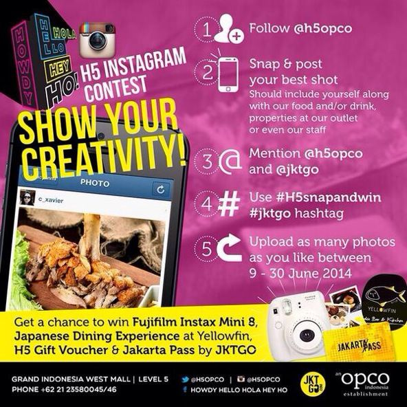 """H5 Instagram Contest """"SHOW YOUR CREATIVITY"""" Win FUJIFILM Instax and other cool prizes! Click this to participate http://on.fb.me/1mvfDHR"""