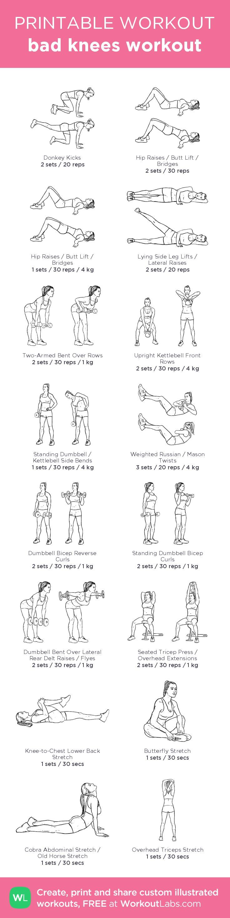 bad knees workout – illustrated exercise plan created at http://WorkoutLabs.com • Click for a printable PDF and to build your own #customworkout