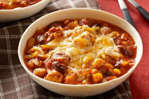 "Slow-Cooker Chunky Chicken Chili - ""I have made this recipe often. Very good and everyone loves it."""