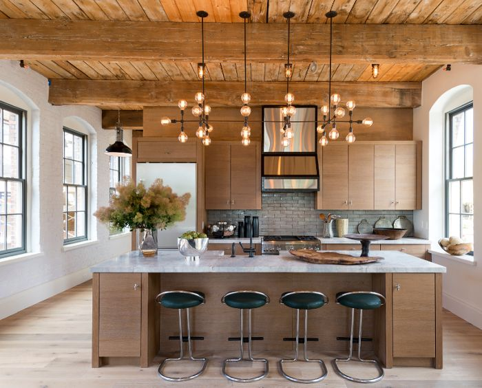 An Industrial Take On A Hamptons Style Home Timber, Brick, And Subway Tiles