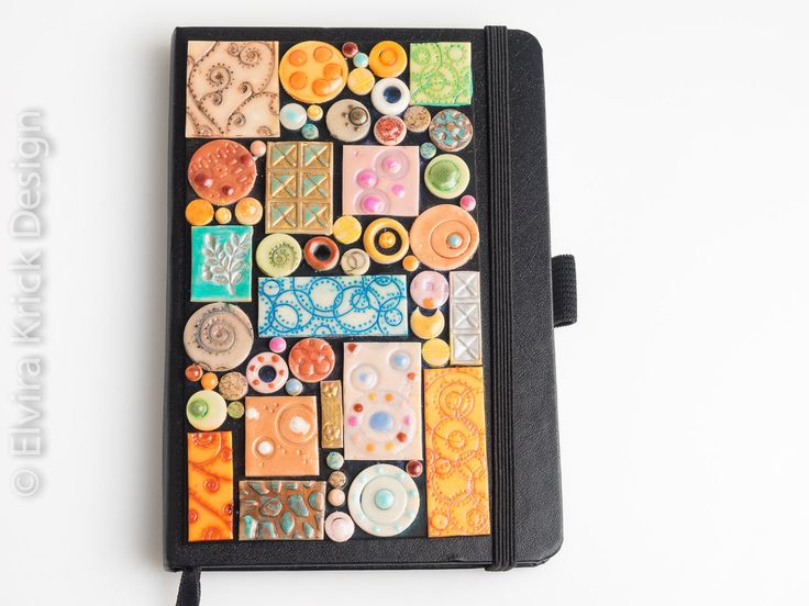 A6 black decorated hardcover notebook, black lined writing journal, handmade polymer embellishments, Dutch Design: http://etsy.me/1H2leSO | We Heart It | handmade, polymer clay, and etsyshop