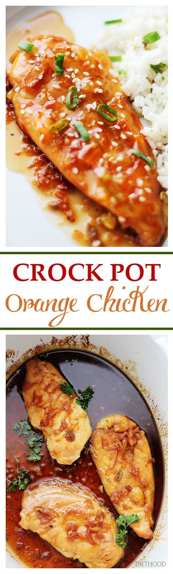 Crock Pot Orange Chicken   www.diethood.com   A delicious twist on the traditionally fried and breaded dish, this Orange Chicken is so flavorful, healthy, and it is cooked in the crock pot!   #chicken #crock_pot