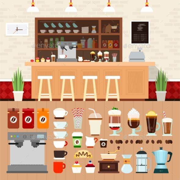 Coffee Bar with Beverages on the Table by mountainbrothers Coffee shop vector flat illustrations. Coffee bar interior with cakes, coffee machines and cooking utensils on the shelves. Rest a