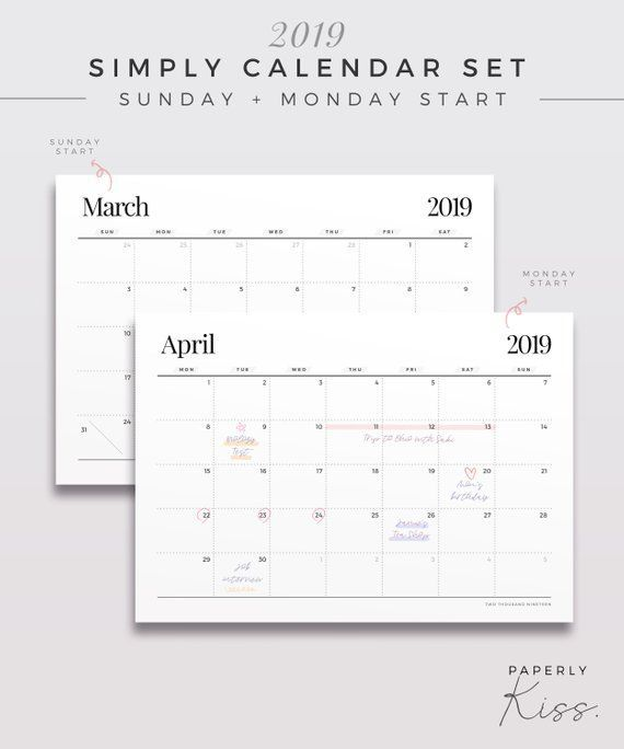 2019 Simply Calendar Set One Page Monthly Planner Printable