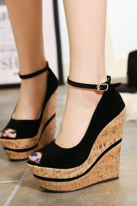 Ankle-strapy wedges peep toe platform punk sandals