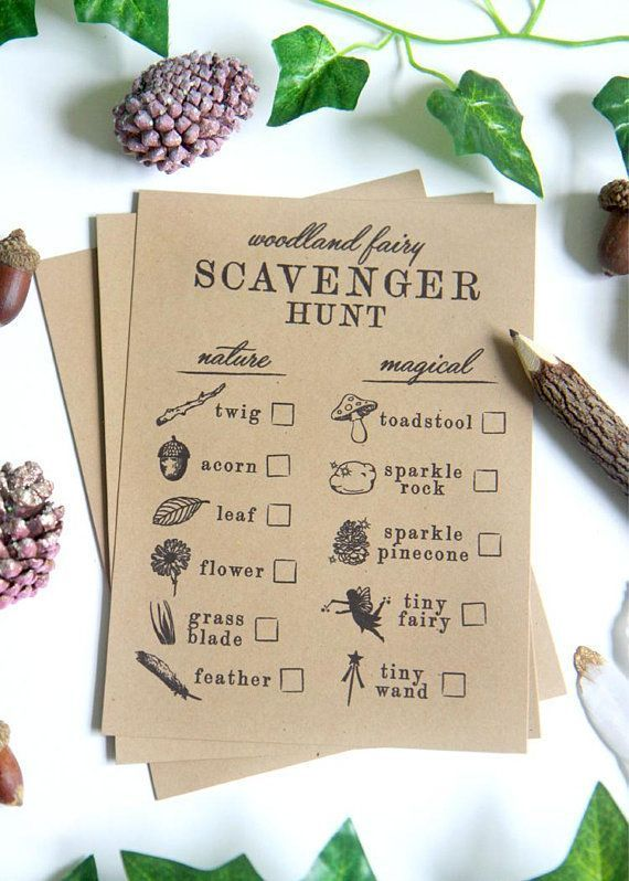 Printable Scavenger Hunt sheets – Nature scavenger hunt checklist – Woodland Fairy Enchanted Forest birthday party games – Customizable
