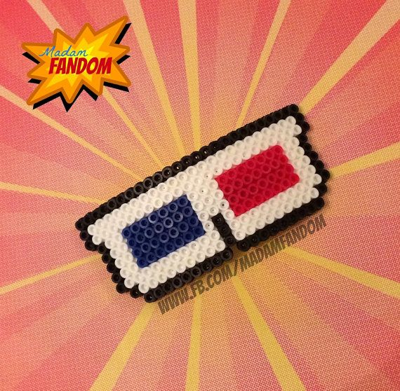 3D GLASSES 10th Doctor Who Hair Bow Barrette (Perler Beads) available from Madam Fandom on etsy ***This is an original Madam Fandom design***