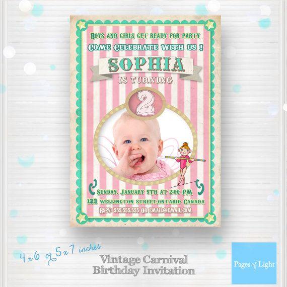 Carnival Birthday Invitation Circus Invitation by PagesOfLight