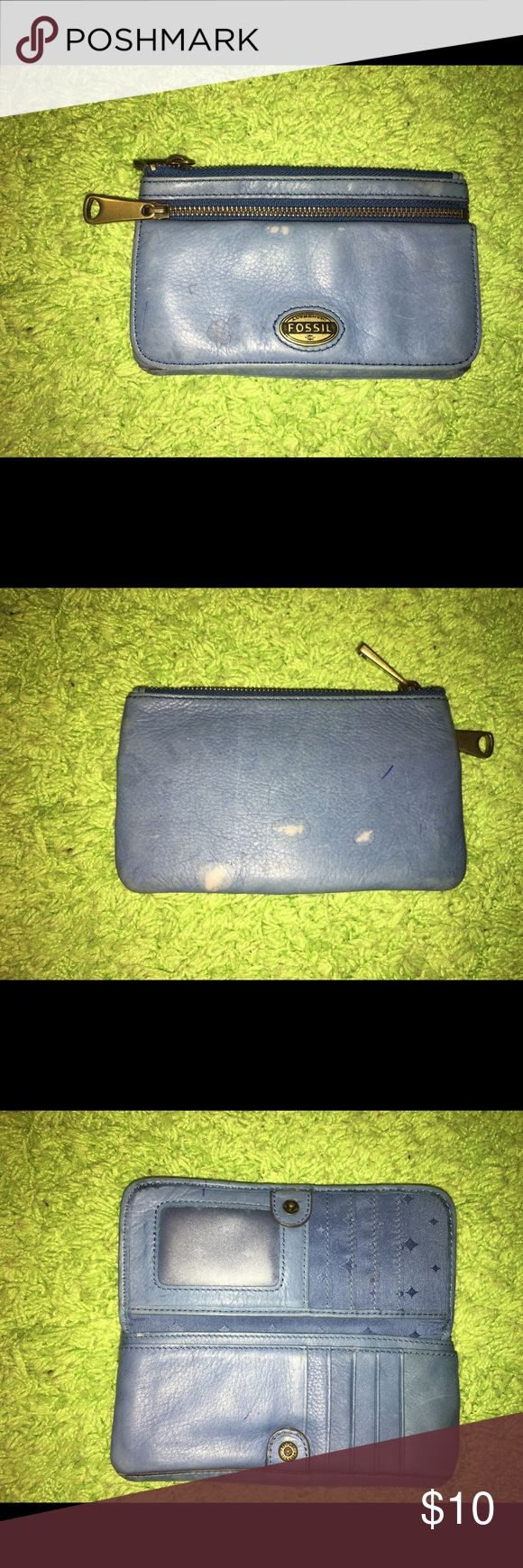 Fossil blue wallet. Fossil blue wallet. It has water stains and clean from the inside. Please see pictures. Price is firm. Fossil Bags Wallets