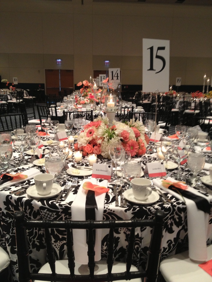 Black White And Coral Stunning Event Decor Ideas