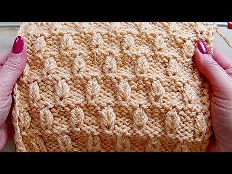 Рельефный узор с выпуклыми листочками Вязание спицами 282 - YouTube
