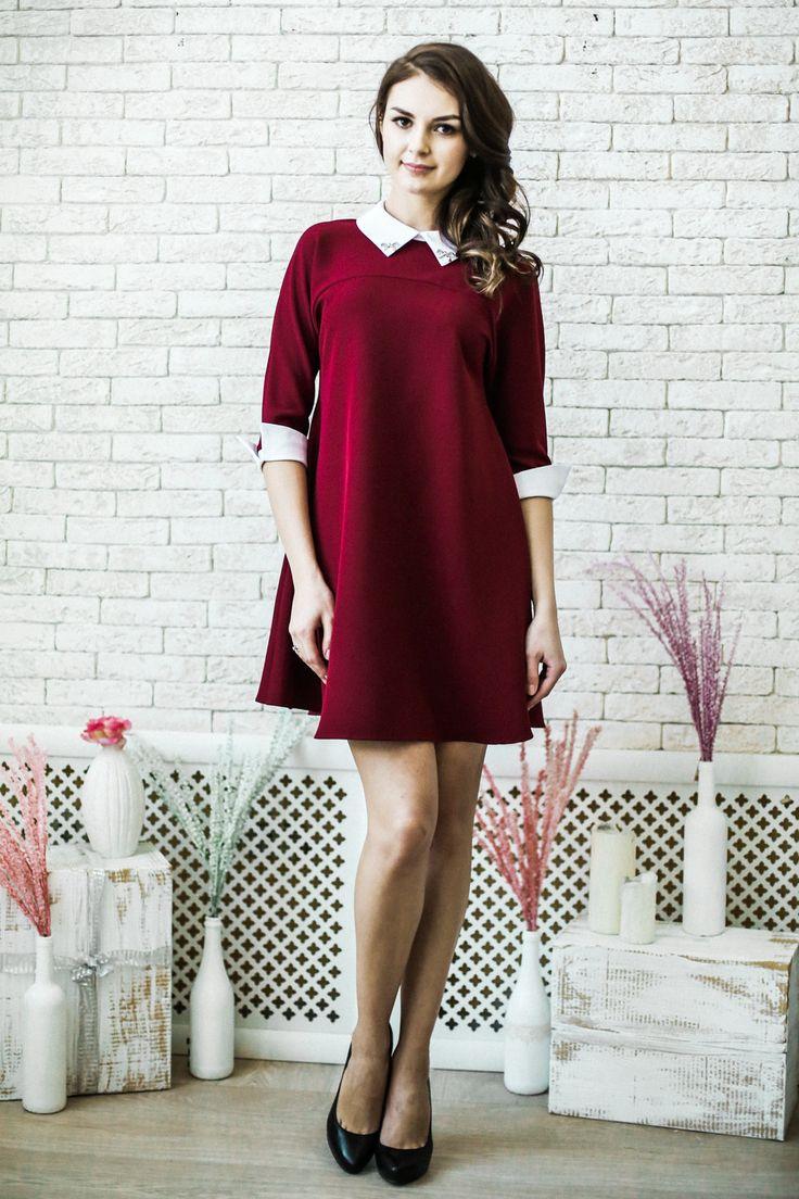 Платье для беременных LR А-силуэта винного цвета с белым воротничком и манжетами