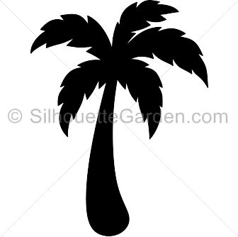 Palm tree silhouette clip art. Download free versions of the image in EPS, JPG, PDF, PNG, and SVG formats at http://silhouettegarden.com/download/palm-tree-silhouette/