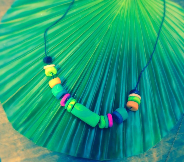 Jungle Feva! necklace ~ black rubber chain with Jungle coloured fimo charms x $70 down to $40 at the mo!