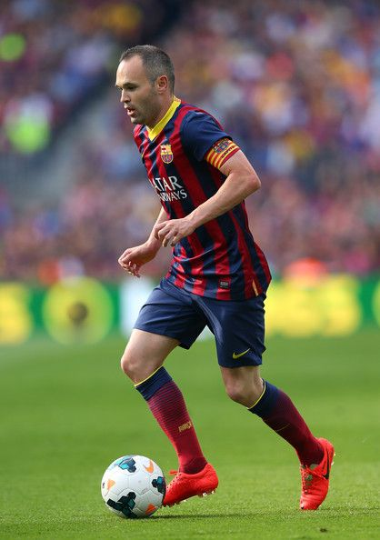 Andres Iniesta of FC Barcelona during the La Liga match between FC Barcelona and Club Atletico de Madrid at Camp Nou on May 17, 2014 in Barcelona, Catalonia.