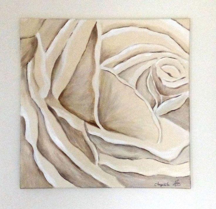 Rose peinte en nuances de beige : Peintures par kikry-art
