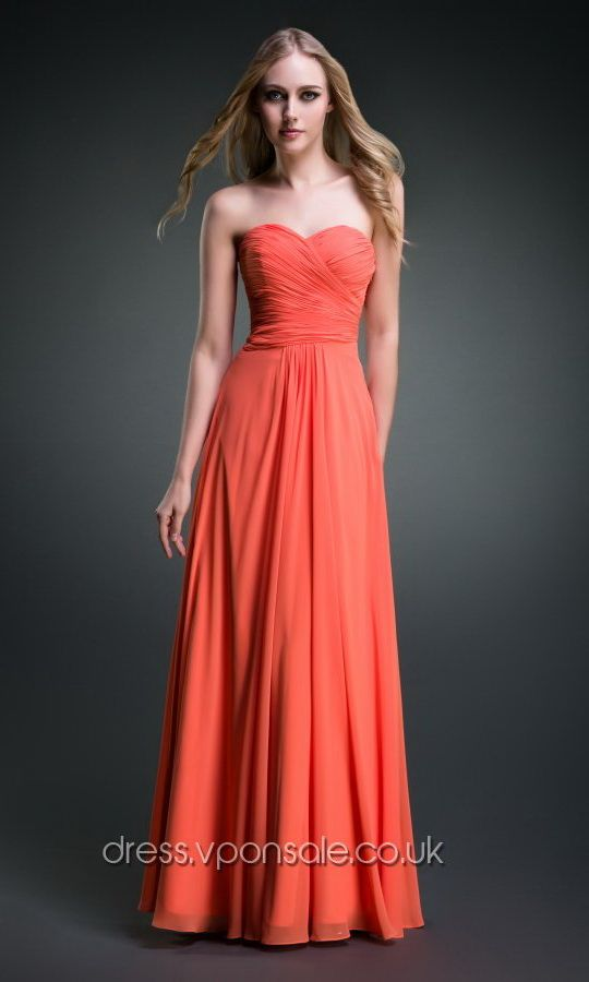 Sweetheart Neck Long Plicated Bridesmaid Dress VPBN891 #vponsale #orange #bridesmaid