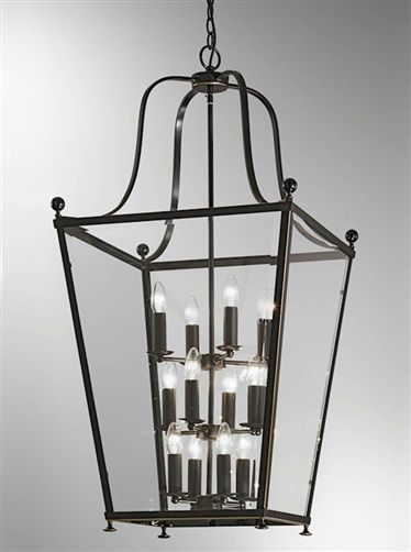 Atrio 12 light Lantern in antique bronze ironwork with subtle gold highlights and bevelled tapered glass panels