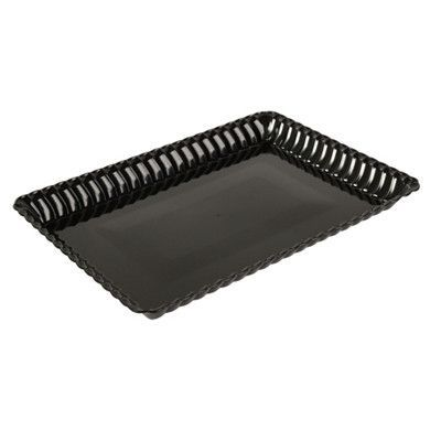 Black Flairware 9 x 13 Plastic Serving Tray in a Retail Bag/Case of 99