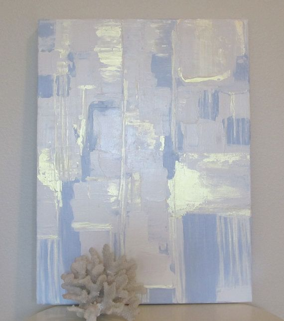 Original Dusk Blue Beige Cream and Gold Abstract Painting by CRESCENTandGOLD on Etsy, $250.00