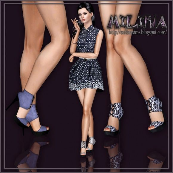 Platform sandals with lacing at Milina Sims - Sims 3 Finds