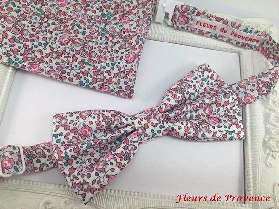 Set Noeud Papillon et Pochette costume assortie Tissu Liberty