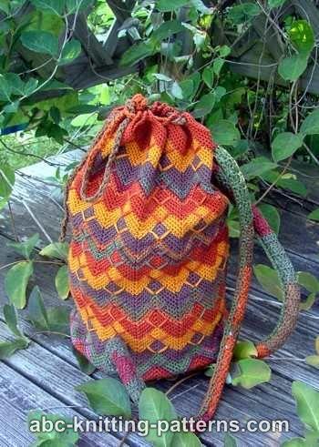 Chevron Backpack crochet bag