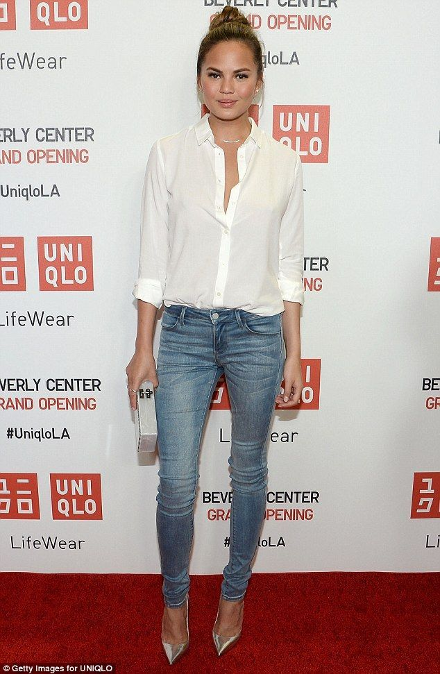 Loose on top: Chrissy wore a more casual ensemble to Thursday's UNIQLO event in LA includi...