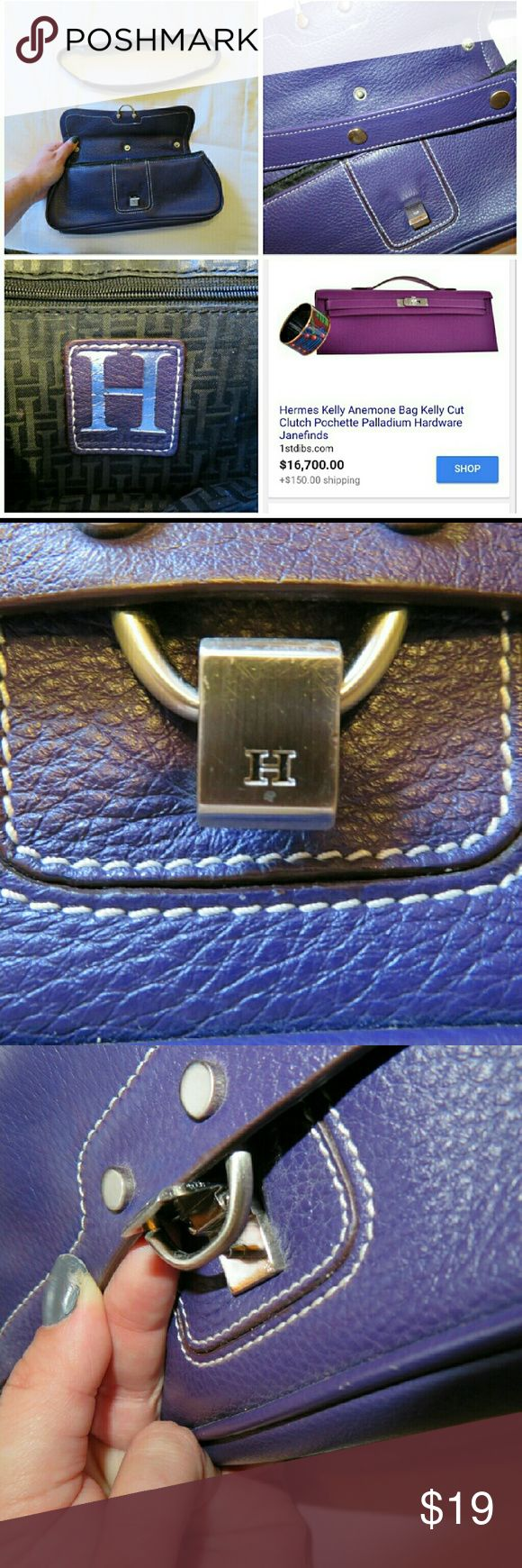 """""""H""""Hermes like purple clutch with detachable strap Similar to the Hermes Kelly Anemone bag I purchased at a Mom&Pop antique and trinket shop in Minneapolis thinking it was a great Hermes inspired bag but after carrying only a few times, quickly realized that as much as I want to be a clutch gal, I'm a tote girl at heart.  Minor scratches on the latch  It is a fabulous bag and although I'm unsure of the brand, I was told it was Tommy Hilfiger. I can't prove brand though. Either way, quality…"""