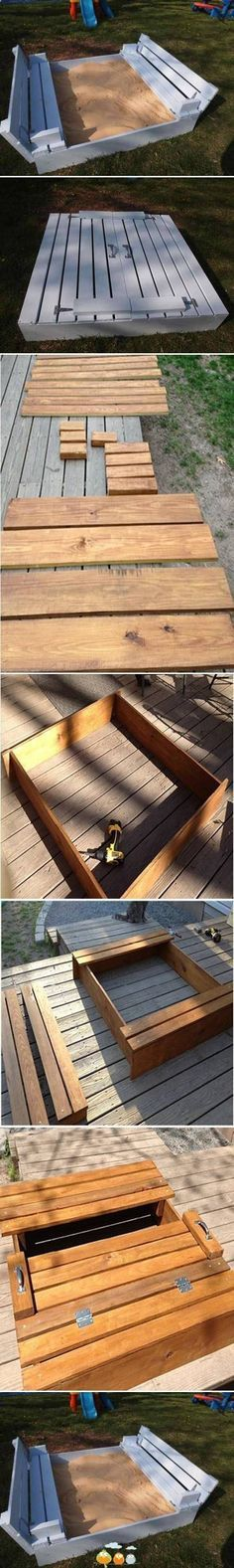 wood pallet sandbox, with bench seats that unfold to cover the sandbox...very cleaver.