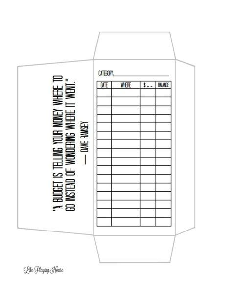 envelope budget template by Sherryl Buiza