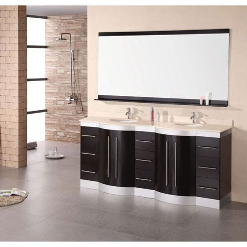 Photo Of Design Element Jasper Dark Espresso Inch Double Sink Vanity Set with Travertine Stone Countertop