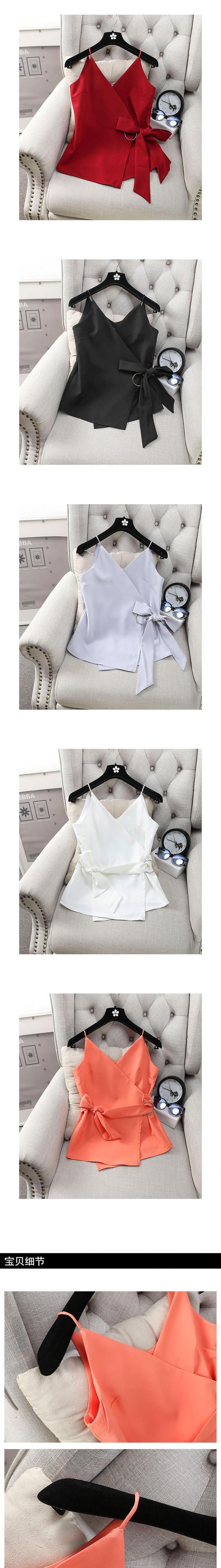[Alphalmoda] Женская мода металлический ремешок v образным вырезом без рукавов Куртка Рубашка Тонкий Летние шифоновые блузки, топы купить на AliExpress