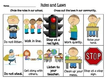 This worksheet had students distinguish between school rules and community laws.