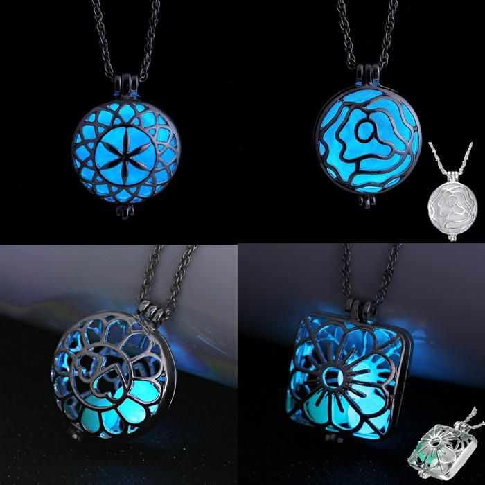 Glowing Steampunk Necklace Magical Fire Fairy Glow In The Dark Necklace Aqua Large Locket 2017 Women Jewelry