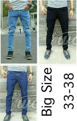 Celana Pria Size 33 34 35 36 37 38 Big Jumbo Celana Jeans Stretch Slimfit  KOX36