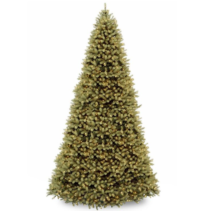 12-ft. ''Feel Real'' Pre-Lit Downswept Douglas Fir Artificial Christmas Tree, Green
