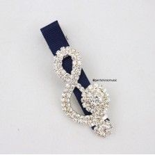 Bling Treble Hair Clip - Navy