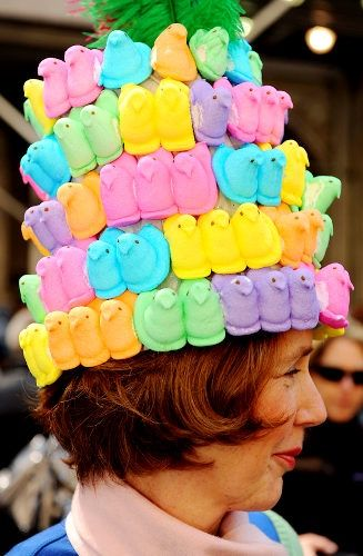 Ms. Peeps (Mary Anna Smith) of Manhattan wears a costume made of peeps at the Annual Easter Hat Parade in front of St. Patrick's Cathedral.