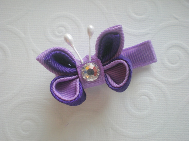 Dark Orchid and Deep Purple Kanzashi Butterfly by CCsChicBowtique, $8.50 #etsy #hairbows #butterfly #kanzashi