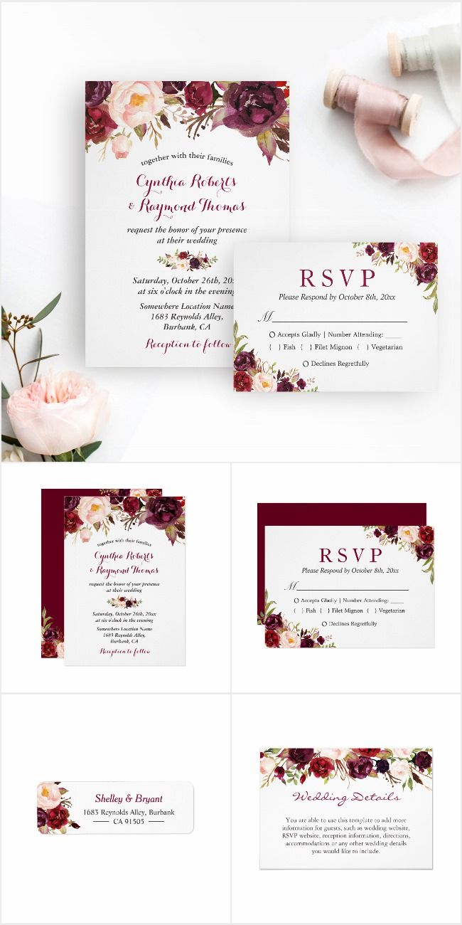 proper response time for wedding rsvp%0A A Burgundy Marsala Red Floral Invitation Suite  with items from invitation  to RSVP card