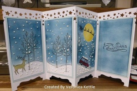 Screen Divider Xmas Card by VeronicaK - Cards and Paper Crafts at Splitcoaststampers (Stampin Up White Christmas Set)