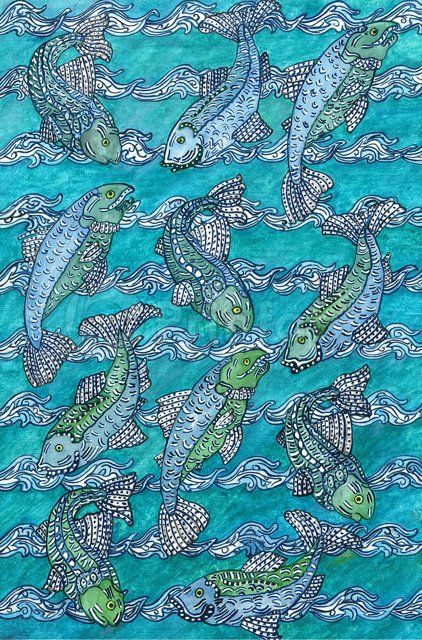 """""""Underwater"""" fabric from Prinfab®. Credit: Lucy Beveridge. URL: https://prinfab.com/product/view/bpf0vW. Description: Fish and water design in blues and greens. Keywords: Fish,  water, wildlife"""