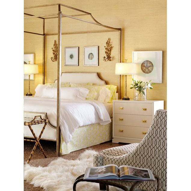 Chinoiserie Chic: Gold Pagoda Bed And Yellow Bedroom Walls