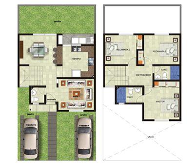 Plano casa dos plantas tres rec maras arquitectura y for Planos de casas gratis para construir