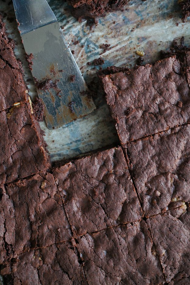 Your New Go-To Brownie Recipe-This looks so wonderfully delicious! I'm going to ignore the fact that they are, possibly, the most fattening brownies ever.