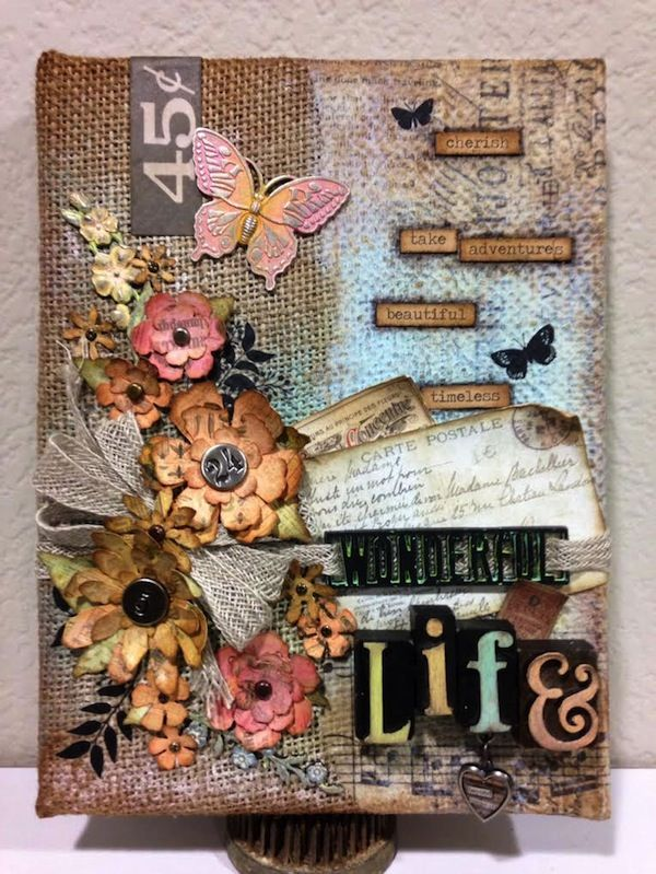 Richele Christensen: Burlap Panel http://www.simonsaysstampblog.com/blog/its-a-wonderful-life/