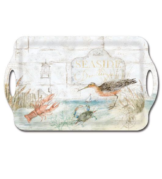 Seaside Dwellings Shore Birds, Lobster And Crab Theme Decor Melamine  Plastic Serving Tray By Keller