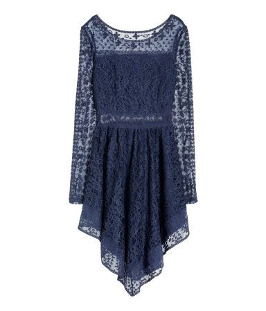 Long-sleeved dress in a delicate navy blue lace and embroidered mesh with a circle skirt asymmetrical hem, & concealed side zip. | H&M Divided