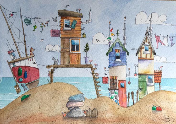 My beach hut paintings
